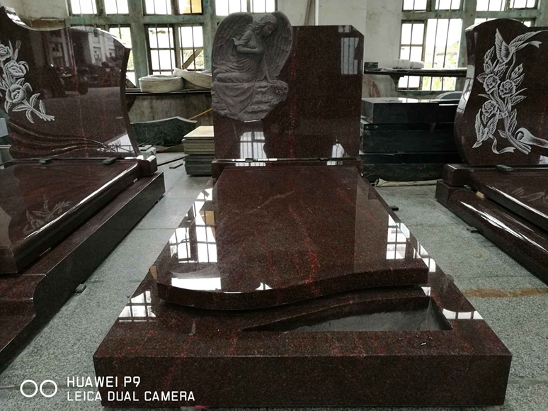India Red Granite Weeping Angel Headstone For Cemetery
